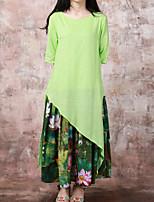 Женский На каждый день Шинуазери (китайский стиль) С летящей юбкой Платье Цветочный принт,Круглый вырез Макси Рукав ½ Зеленый Хлопок / Лён