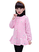 Girl's Casual/Daily Floral Down & Cotton Padded,Cotton Winter Pink / Red