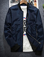Men's Casual/Daily Simple Jackets,Solid Stand Long Sleeve Fall Blue / Black / Gray / Orange Polyester