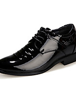 Черный-Мужской-Для офиса-Полиуретан-На плоской подошве-Удобная обувь-Туфли на шнуровке