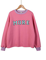 Women's Casual/Daily Simple / Active Regular Hoodies,Letter Pink / White Round Neck Long Sleeve Cotton Fall / Winter Medium Stretchy