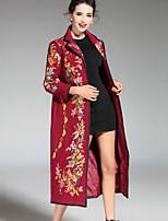 Женский На каждый день / Большие размеры Вышивка ПальтоШинуазери (китайский стиль) Осень / Зима Красный / Зеленый / Оранжевый Рукав ¾,