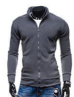 Men's Going out / Casual/Daily / Sports Simple / Street chic / Active Regular Hoodies,Solid Blue / Black / Brown / Gray Hooded Long Sleeve