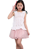 Girl's Casual/Daily Solid Dress / Clothing SetCotton Spring / Fall Pink