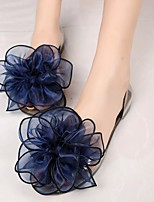 Women's Sandals Summer Comfort Leatherette Casual Flat Heel Flower Black / Blue / Champagne Others
