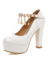 Women's Heels Spring / Summer / Fall Comfort Leatherette Wedding / Office  Casual Chunky Heel Imitation PearlBlack /