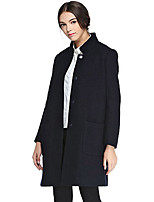 CANTO MOTTO Women's Casual/Daily Simple CoatSolid Stand Long Sleeve Fall Black Wool / Nylon Opaque