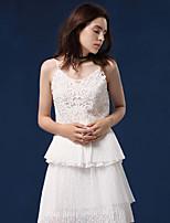 Débardeur Femme,Couleur Pleine Sortie simple Eté Sans Manches A Bretelles Blanc / Noir Polyester Moyen