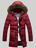 Men's Padded Coat,Simple Casual/Daily Solid-Polyester Polyester Long Sleeve Hooded Blue / Red
