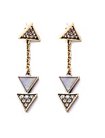 European Luxury Gem Geometric Earrrings Micro Insert Triangle Drop Earrings for Women Fashion Jewelry Best Gift