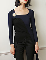 Tee-shirt Femme,Couleur Pleine Décontracté / Quotidien Vintage Printemps / Automne Manches Longues Bateau Bleu / NoirRayonne / Nylon /