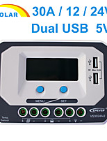 LCD 30A PWM Solar Charge Controller Solar Regulator 24V With Dual USB  VS3024AU