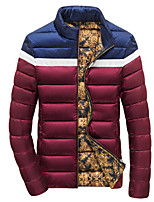 Men's Regular Padded Coat,Simple Casual/Daily Solid-Polyester Polypropylene Long Sleeve Red