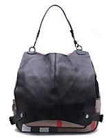 Casual Backpack Women Cowhide Black