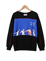 Women's Casual/Daily Simple / Active Regular Hoodies,Letter White / Black Round Neck Long Sleeve Cotton Fall / Winter Medium Stretchy