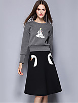 Women's Casual/Daily Street chic Fall Skirt Suits,Print Round Neck Long Sleeve Gray Polyester