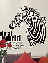 DIY Animal World Zebra With English Words Wall Stickers Fashion Living Room Bedroom Wall Decals Removable PVC