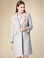 Women's Casual/Daily Simple Coat,Solid Notch Lapel Long Sleeve Winter Gray Cotton Thick