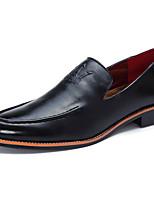 Черный Коричневый Красный-Мужской-Повседневный-Полиуретан-На низком каблуке-Удобная обувь Гладиаторы-Мокасины и Свитер