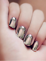 24PCS/SET  Nail Strips Short Punk Metal Style Smoky Grey