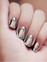 24pcs / набор ногтей полосы короткий стиль панк металл дымчато-серый