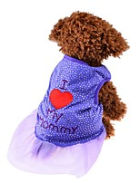 Cat / Dog Shirt / T-Shirt / Dress Purple / Black / Pink Dog Clothes Summer / Spring/Fall Hearts Cute / Fashion