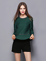 Women's Casual/Daily Simple Fall / Winter T-shirt Pant Suits,Solid Round Neck Long Sleeve Green Polyester Medium