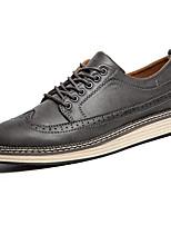 Черный / Красный / Серый-Мужской-Для офиса / Для вечеринки / ужина-Кожа-На плоской подошве-Удобная обувь-Туфли на шнуровке