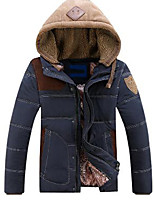 Men's Regular Padded Coat,Vintage / Punk & Gothic Plus Size / Casual/Daily Solid / Color Block-Cotton Cotton Long Sleeve Hooded Blue