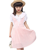 Girl's Casual/Daily Solid Dress / Clothing SetCotton Summer Blue / Pink
