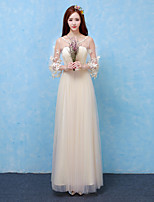 Ankle-length Satin / Tulle Bridesmaid Dress - See Through A-line Scoop with Appliques / Lace