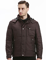 SEVEN Men's Casual/Daily Street chic JacketsSolid Stand Long Sleeve Winter Brown Polyester Thick