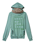 Women's Casual/Daily Simple Regular Hoodies,Letter Green Hooded Long Sleeve Cotton Fall / Winter Thin Stretchy