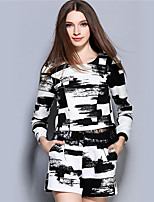 Women's Casual/Daily Street chic Pant Suits,Print Round Neck Long Sleeve Black Polyester