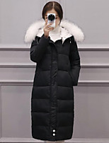 Women's Long Down Coat,Simple Casual/Daily Solid-Polyester White Duck Down Long Sleeve White / Black