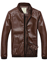 Men's Casual/Daily Simple Leather JacketsSolid Stand Long Sleeve Fall / Winter Black / Brown PU Medium