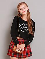 Feminino Camiseta Happy-Hour Simples Inverno,Estampado Preto Algodão Decote Redondo Manga Longa Média