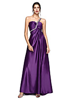 2017 TS Couture® Formal Evening Dress - Open Back A-line One Shoulder Sweep / Brush Train Stretch Satin withBow(s) / Crystal Detailing /