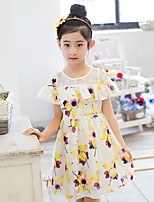 Girl's Casual/Daily Floral Dress,Others Summer Blue / Green / Pink / Yellow