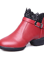 Non Customizable Women's Dance Shoes Leather Leather Jazz / Tap / Modern / Swing Shoes / Dance Boots / Salsa Boots Low HeelPractice /