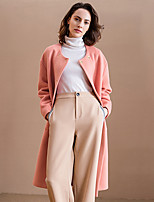 Women's Going out Simple Coat,Solid Round Neck Long Sleeve Winter Pink / Gray Polyester / Spandex Medium