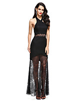 2017 TS Couture® Formal Evening Dress Sheath / Column Halter Ankle-length Lace / Jersey with Lace
