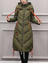 Women's Long Down CoatStreet chic Going out Print-Polyester Polypropylene Long Sleeve Hooded Black / Gray / Green
