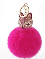 The Car Put Ornaments Rabbit Ball Keychain Plush Lady Lovely Diamond Pearl Fox Bag Pendant