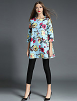 1287 Women's Going out / Casual/Daily Simple Trench CoatFloral Round Neck  Sleeve All Seasons Blue Cotton