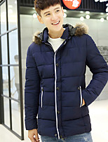 Men's Padded Coat,Street chic Plus Size Solid-Polyester Polypropylene Long Sleeve Hooded Blue / Black / Green