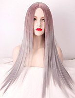 Fashion Highlight Two Tone Natural Grey Ombre Heat Resistant Synthetic Wigs for Women Shades of Long Straight Hair Wig