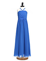2017 Lanting Bride® Floor-length Chiffon Junior Bridesmaid Dress A-line Spaghetti Straps with Sash / Ribbon / Side Draping