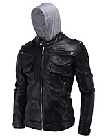 Hight Quality Men's Casual/Daily Simple Leather JacketsSolid Hooded Long Sleeve Spring / Winter Black PU / Cotton Thick