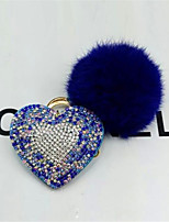 Crystal Love Key Pendant Hair Ball Car Key Ring
